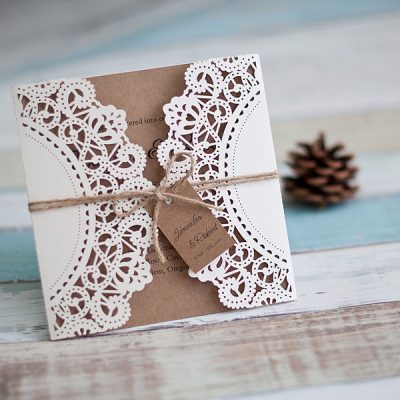 Rustic Square Gatefold Laser Cut Wedding Invitation - with twine string
