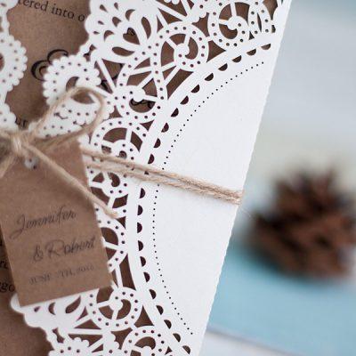 Rustic Square Gatefold Laser Cut Wedding Invitation - detail