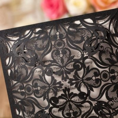 Intricate Symmetry Four Pattern Laser Cut Wedding Invitation - black - detail