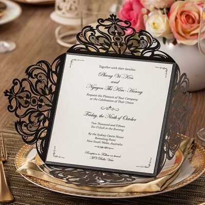 Intricate Symmetry Four Pattern Laser Cut Wedding Invitation - black