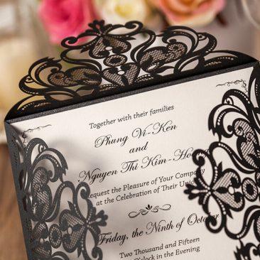 Intricate Symmetry Four Pattern Laser Cut Wedding Invitation - black