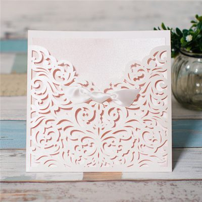 Scrolling Square Bow Pocket Laser Cut Wedding Invitation - blush pink