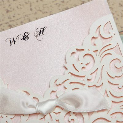 Scrolling Square Bow Pocket Wedding Invitation - detail - white