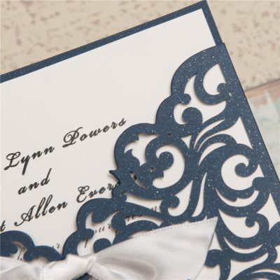 Scrolling Square Bow Pocket Wedding Invitation  - navy - detail