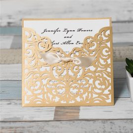 Scrolling Square Bow Pocket Laser Cut Wedding Invitation - gold