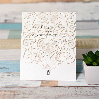 Diamond Accent Top Fold Vertical Pocket Wedding Invitation - white
