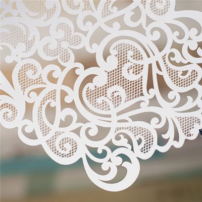 Diamond Accent Top Fold Vertical Pocket Wedding Invitation - detail