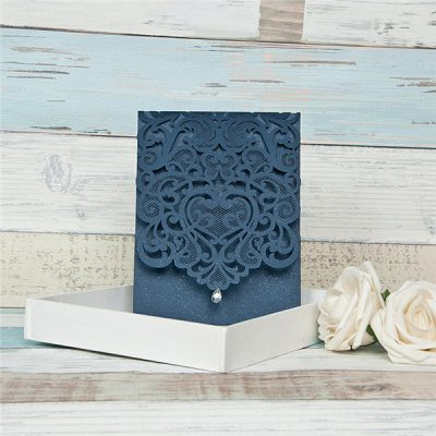Diamond Accent Top Fold Vertical Pocket Wedding Invitation - navy