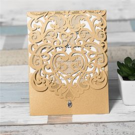 Diamond Accent Top Fold Vertical Pocket Wedding Invitation - metallic gold