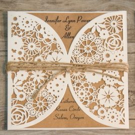 Rustic Floral Pocket with Twine String Laser Cut Wedding Invitaiton
