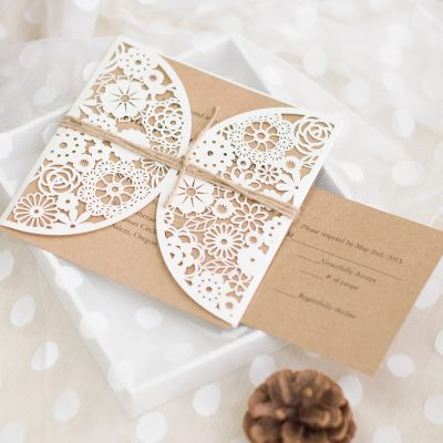 Rustic Floral Pocket with Twine String wedding invitation. Kraft and Cream color