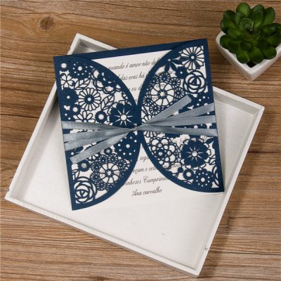 Rustic Floral Pocket with ribbon in navy, laser cut wedding invitation
