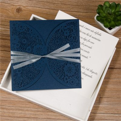 Rustic Floral Pocket with ribbon in navy