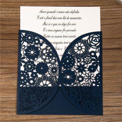 Rustic Floral Pocket laser cut wedding invitation in navy