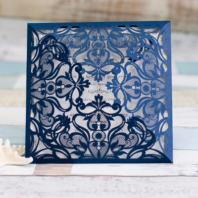Intricate Symmetry Four Pattern Laser Cut Wedding Invitation - navy