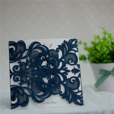 Symmetry Pattern Gatefold Laser Cut Wedding Invitations - Navy WPL0086