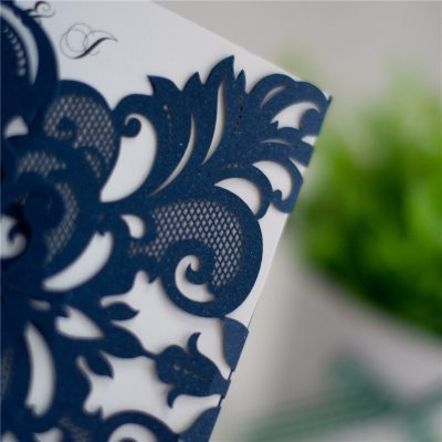 Detail - Symmetry Pattern Gatefold Laser Cut Wedding Invitations - Navy WPL0086