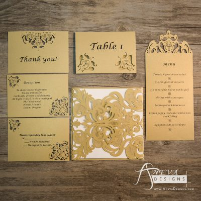 Laser cut matching cards available. RSVP, Reception, Table, and menu cards.