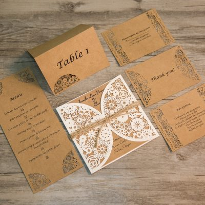 Rustic Floral Pocket (Matching Laser Cut Cards Available) - WRL0006