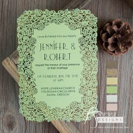 Floral Border Flat Card Wedding Invitations