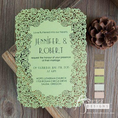 Floral Border Flat Card Wedding Invitations