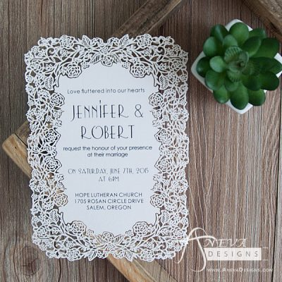 Floral Border Flat Card Wedding Invitations - white