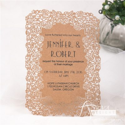 Floral Border Flat Card Wedding Invitations - kraft