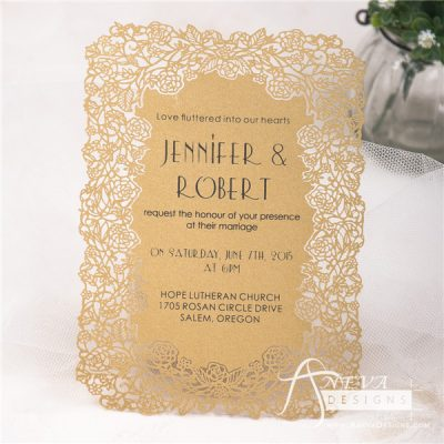 Floral Border Flat Card Wedding Invitations - gold