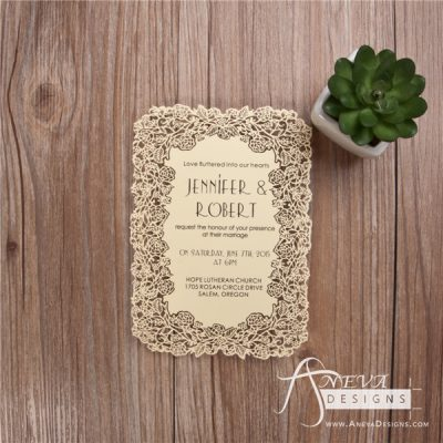 Floral Border Flat Card Wedding Invitations - yellow
