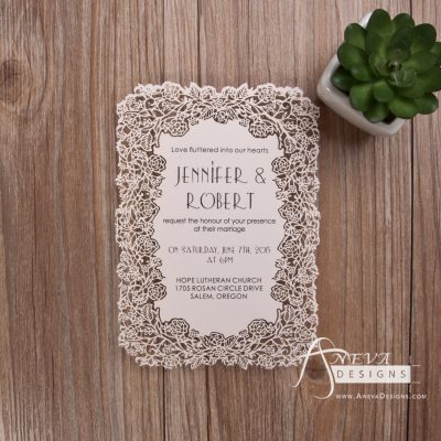 Floral Border Flat Card Wedding Invitations - pink