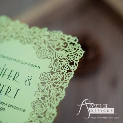Floral Border Flat Card Wedding Invitations - detail