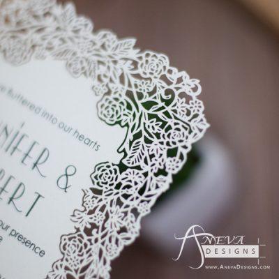 Floral Border Flat Card Wedding Invitations - detail