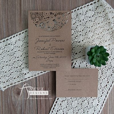 Boho Flowers Circle Top Wedding Invitation - kraft