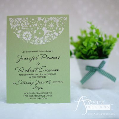 Boho Flowers Circle Top Wedding Invitation - green