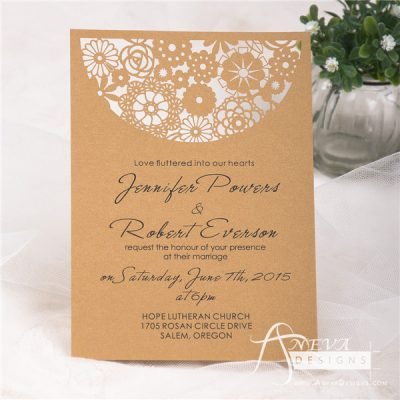 Boho Flowers Circle Top Wedding Invitation - gold