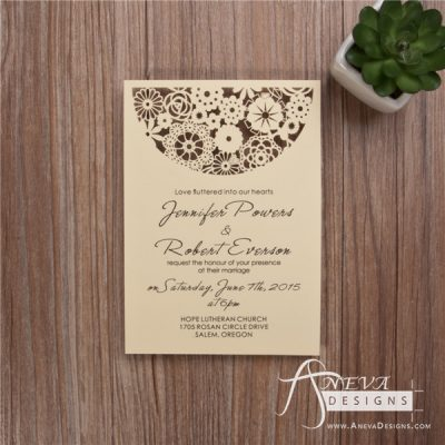 Boho Flowers Circle Top Wedding Invitation -Ivory