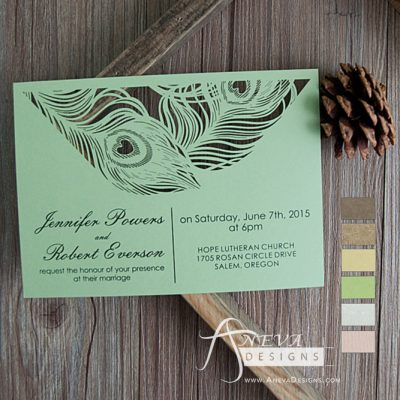Peacock Feather Top Laser Cut Wedding Invitation - green
