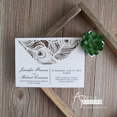Peacock Feather Top Laser Cut Wedding Invitation