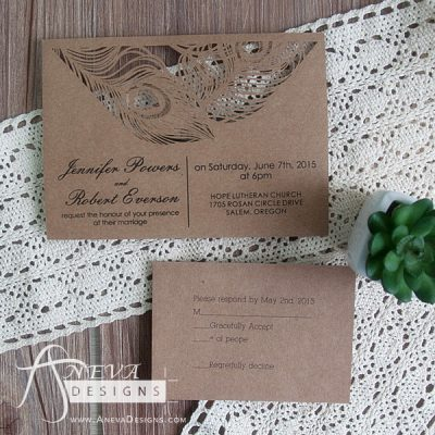 Peacock Feather Top Laser Cut Wedding Invitation and RSVP Card- kraft