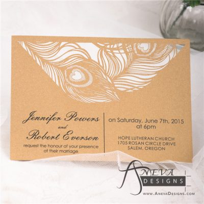 Peacock Feather Top Laser Cut Wedding Invitation - gold