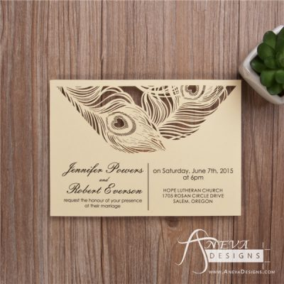 Peacock Feather Top Laser Cut Wedding Invitation - Ivory