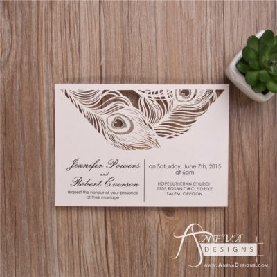 Peacock Feather Top Laser Cut Wedding Invitation - blush pink