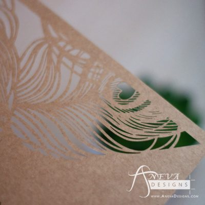 Peacock Feather Top Laser Cut Wedding Invitation - detail (kraft)