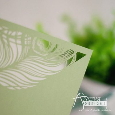 Peacock Feather Top Laser Cut Wedding Invitation - detail (green)