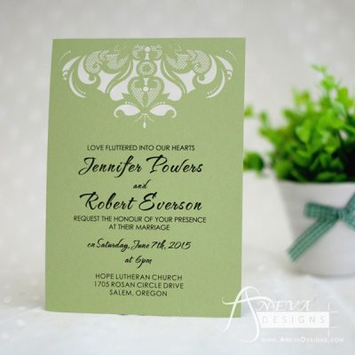 Intricate Symmetry Top Wedding Invitation - green