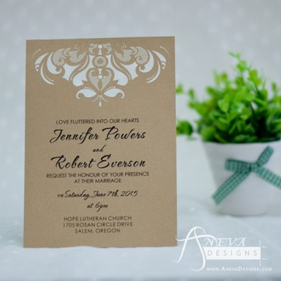 Intricate Symmetry Top Wedding Invitation - kraft