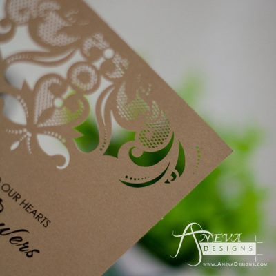 Intricate Symmetry Top Wedding Invitation - kraft detail