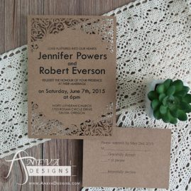 Scrolling Frame laser cut wedding invitations and RSVP card- kraft