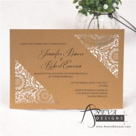 Flower Diagonal Corners laser cut paper wedding invitations