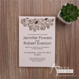 Fine Flower Top laser cut paper wedding invitations by Aneva Designs, LLC.